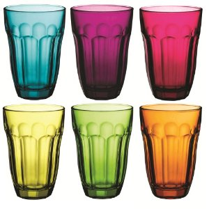 Coloured glass tumblers