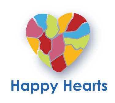 HAPPY HEARTS WITH TEXT - WHITE BACKGROUND
